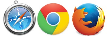 Safari, Chrome, and Firefox