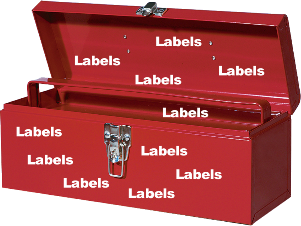 red toolbox with labels