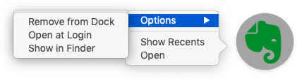 Evernote in the Dock with Options menu showing