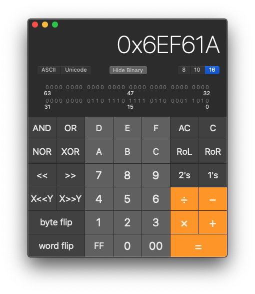 Mac Calculator app in programmer mode