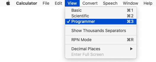 Mac Calculator app's View menu